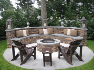 bench firepit finishing touches